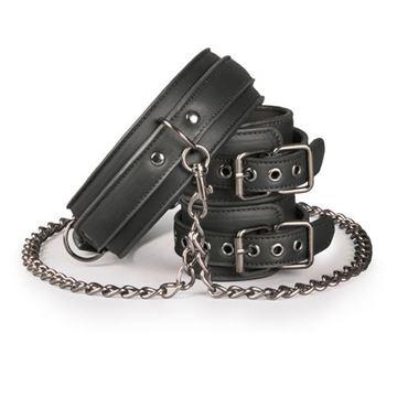 Billede af Halsbånd med Ankelmanchetter i Læder