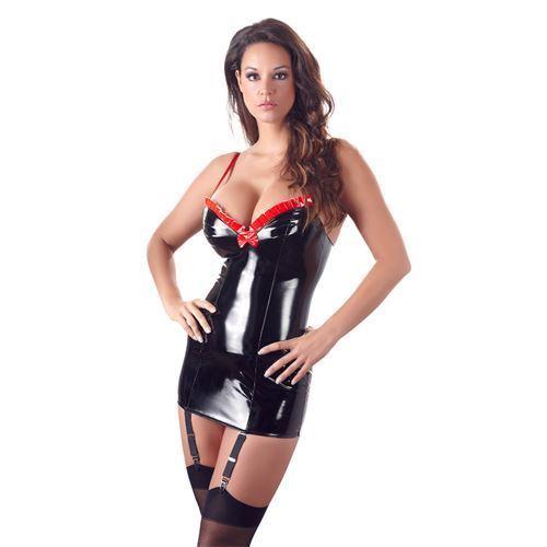 Billede af Kort Lak kjole med strømpeholder